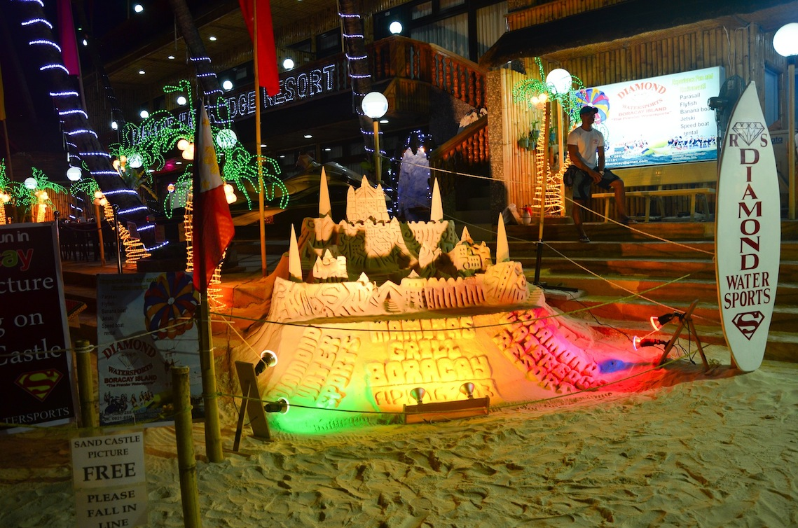 sand castles at night